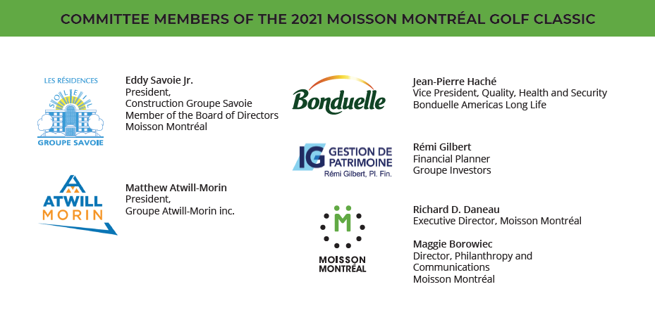 Committee Members of the 2021 Moisson Montréal Golf Classic
