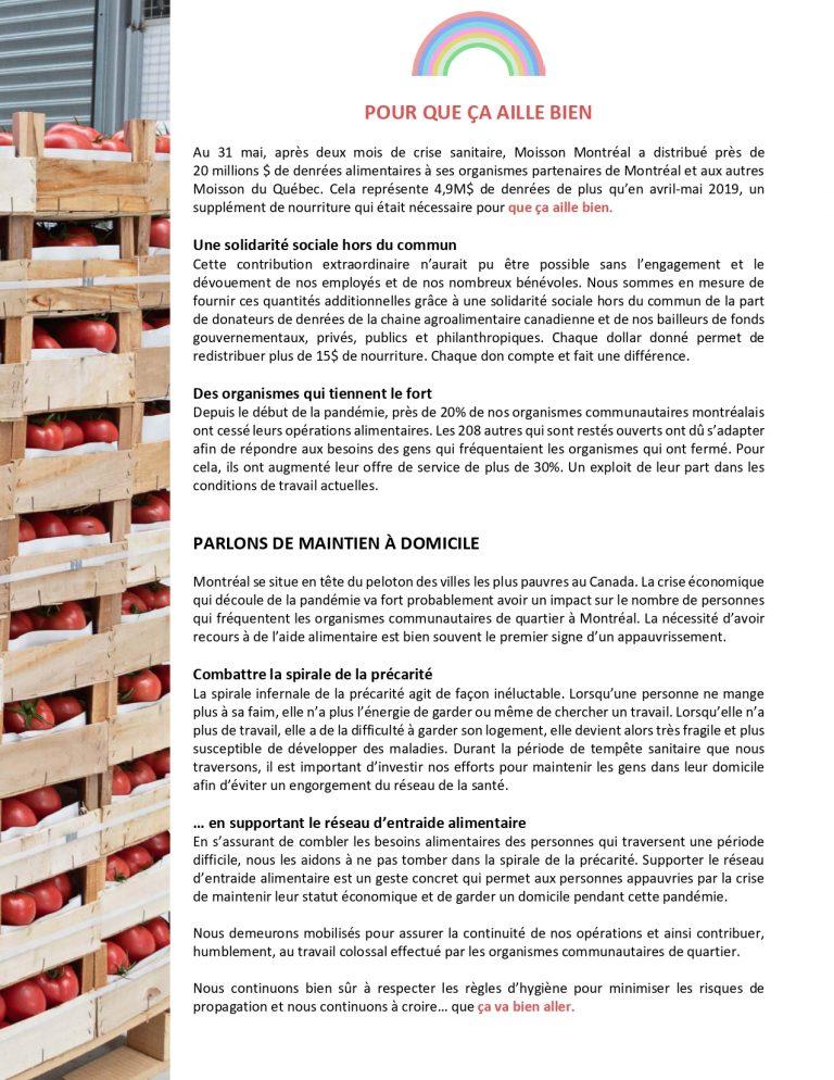 Communiqué de Moisson Montréal du 2 juin 2020