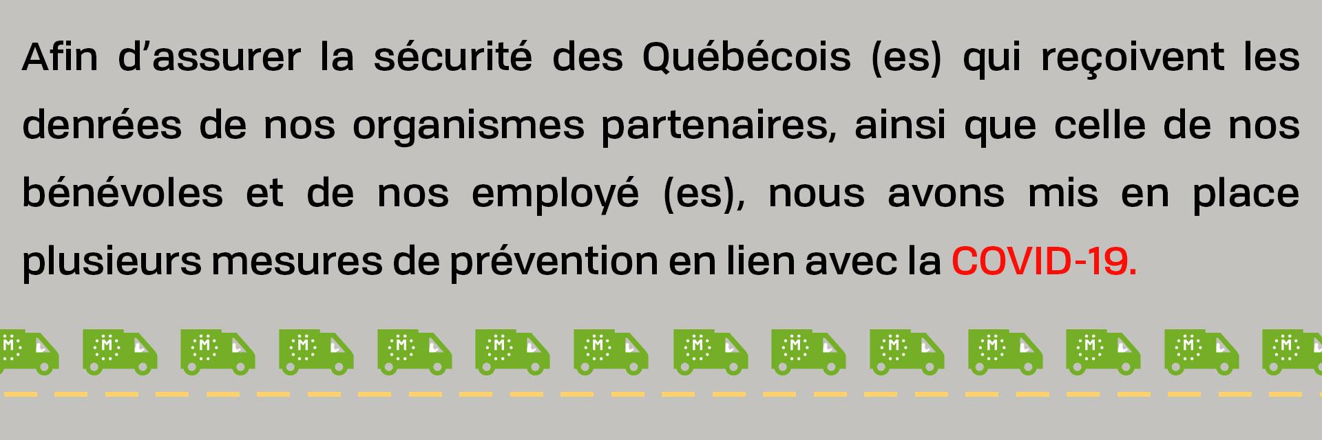Nouvelles sur la situation de Moisson Montréal face aux COVID